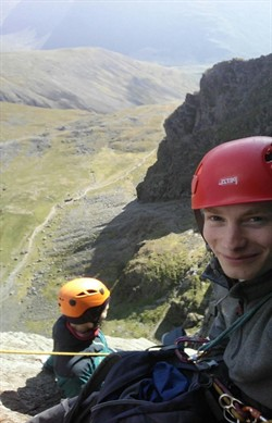 2018 11 Eugenie & Tom high up on Central Buttress